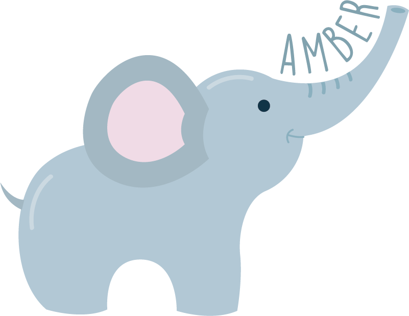 TenStickers. Named elephant wild animal sticker. A large elephant wall art decal for the decoration of kids bedroom. Buy it in the size suitable for a space in the home. Easy to apply.