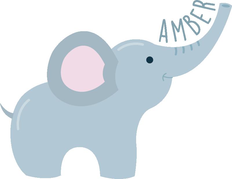TenStickers. Sticker Maison Éléphant et prénom. Ce sticker chambre d'enfant représente un adorable éléphant, accompagné d'un prénom personnalisable écrit le long de sa trompe.