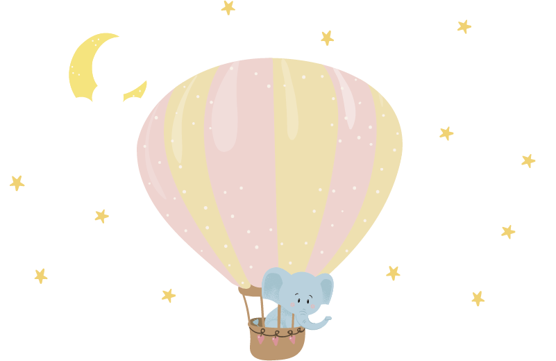 TenStickers. Balloon elephant illustration wall art. Air balloon wall sticker with an elephant  and cloud to decorate the wall space for kids and infant. Choose the best size suitable.