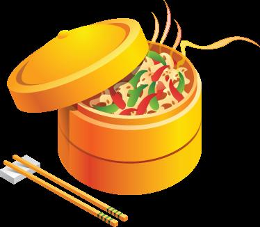 TENSTICKERS. オリエンタルフードキッチンデカール. キッチンウォールステッカー-東洋の中国をテーマにしたイラスト。野菜やdump子を調理するためのカラフルな竹かご。