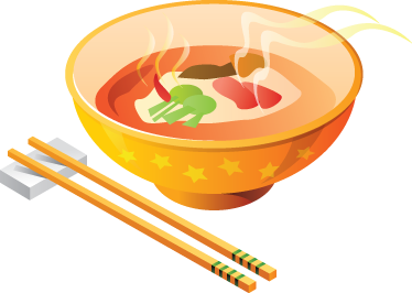 TenStickers. Adesivo de comida de sopa. Autocolantes decorativos de cozinha - tigela chinesa colorida e pauzinhos. Ideal para decorar paredes, armários ou eletrodomésticos da cozinha