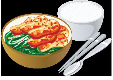 TenStickers. Aziatisch eten sticker. Breng het Aziatische sfeer naar jouw woning dankzij deze muursticker met een typisch Aziatisch gerecht! Kom van groenten, kip en rijst.