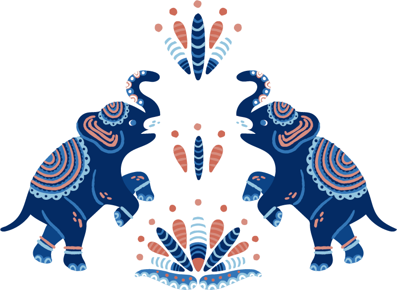 TenStickers. elephant Indian style Living Room Wall Decor. Decorate your house with this animal wall stickers, with two blue elephants, decorated in Indian style. Your room will have an exotic look!