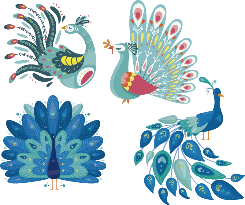 TenStickers. Peacocks set bird sticker. Decorative peacock bird wall sticker to beautify the home space. A lovely and graceful looking set of peacocks. Buy it in the size dimension suitable.