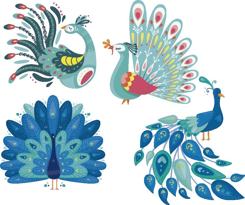 TenStickers. Sticker Maison Couple de paons. Représentant deux splendides dessins de paons, ce sticker d'oiseau sera du plus bel effet dans un salon ou dans une chambre.