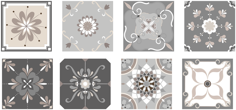 TenStickers. Beige ornaments floral wall sticker. Original beige and gray tile stickers for bathroom or kitchen. Check the catalog of our tiles stickers and decorate your bathroom.