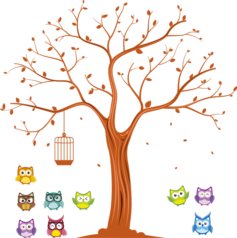 TenStickers. Colorate bufnițe pe un autocolant de perete pentru acasă. Colorate de owl autocolante sunt o idee minunată pentru decoratiuni de perete într-o cameră pentru copii. Verificați autocolantele de pasăre și alegeți ceva pentru dvs.