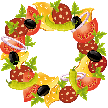 TenStickers. Food Wreath Crown Decal. Decals - Vibrant and colourful illustration of salad with tomatoes, black olives, cheese and peppers arrange in a circle. Wall stickers.