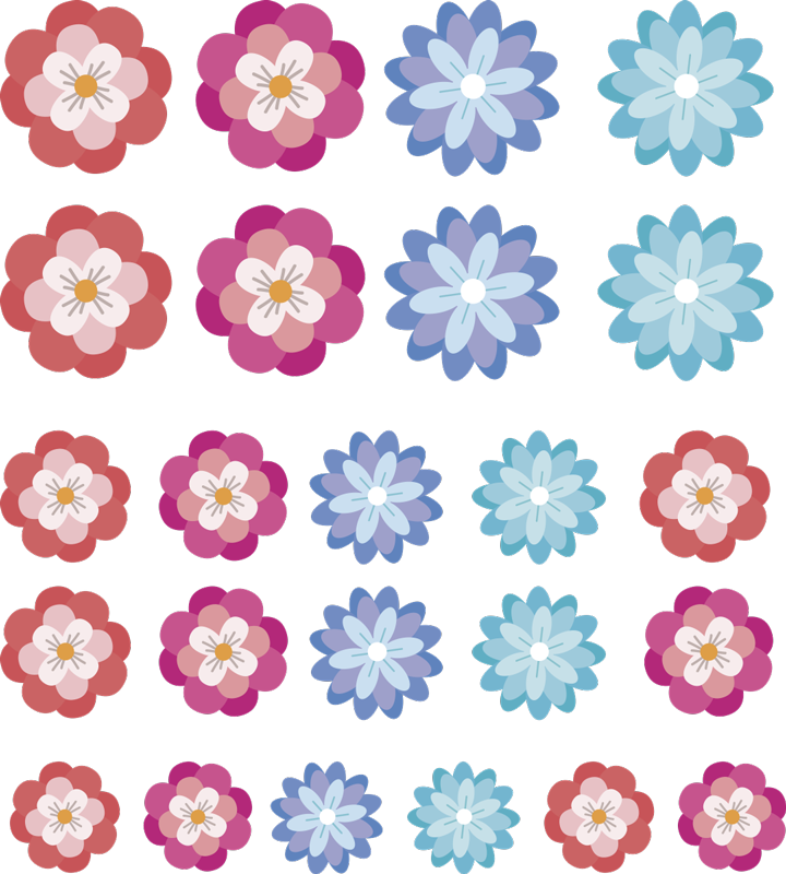 TenStickers. Set of colourful flower wall decors. Give any wall or gadget some life with this variety of dazzling floral stickers. Choose from a wide variety of shapes and sizes!