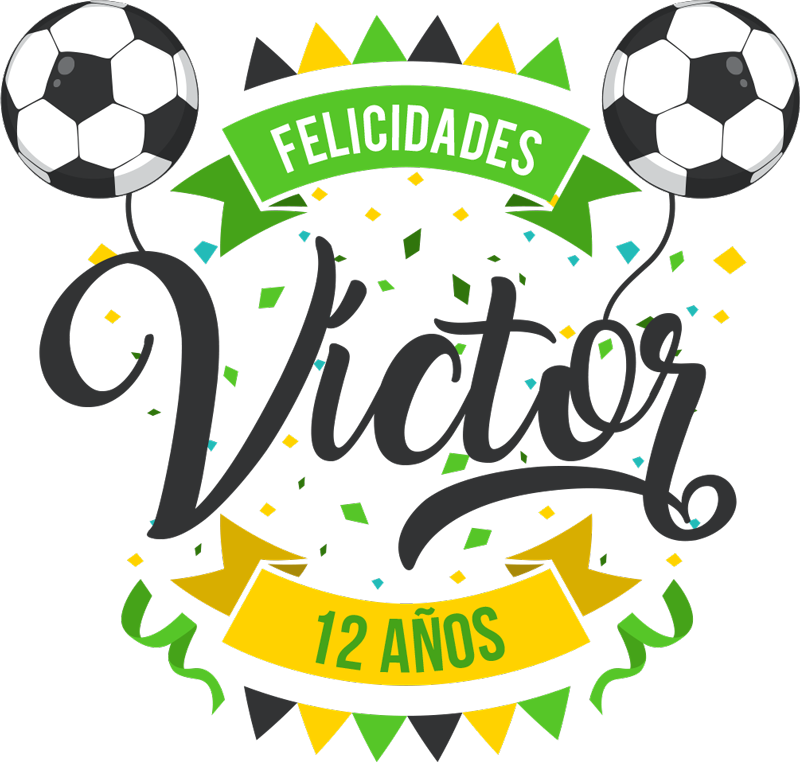TenVinilo. Vinilo fútbol pegatina cumpleaños. Pegatina personalizada con temática de fútbol ideal para decorar la fiesta de un cumpleaños infantil o juvenil . Precios imbatibles.