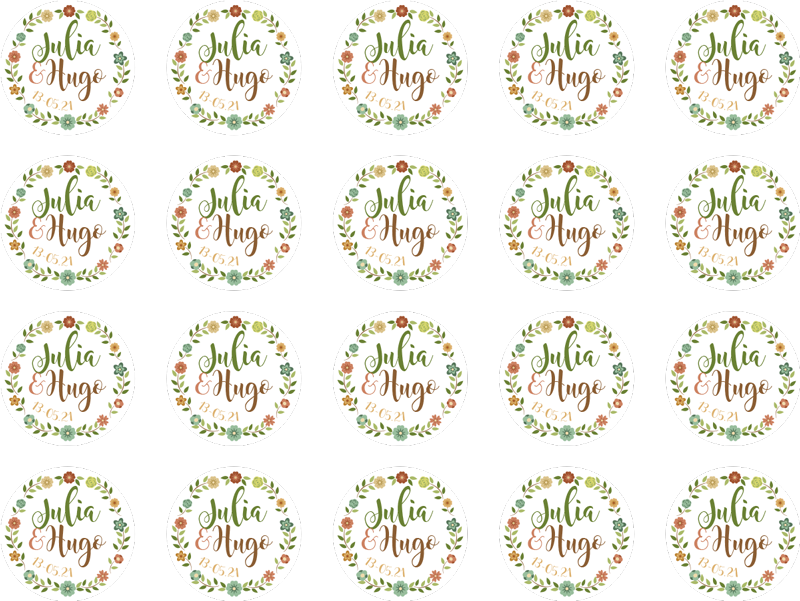TenStickers. Personalised flowers wedding sticker. Spruce up your wedding reception, invitations and centerpieces with these flowery wedding stickers. Choose from a wide range of sizes!