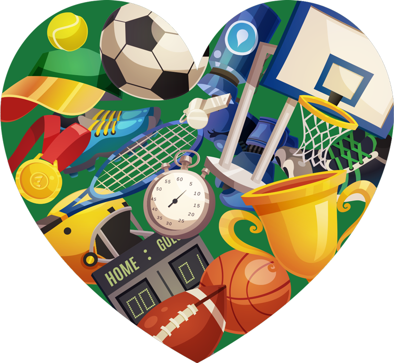 TenStickers. Sports Heart sports wall sticker. Give your kids' rooms some energy with this high quality heart sticker full of sporty objects. Choose from a wide variety of sizes!