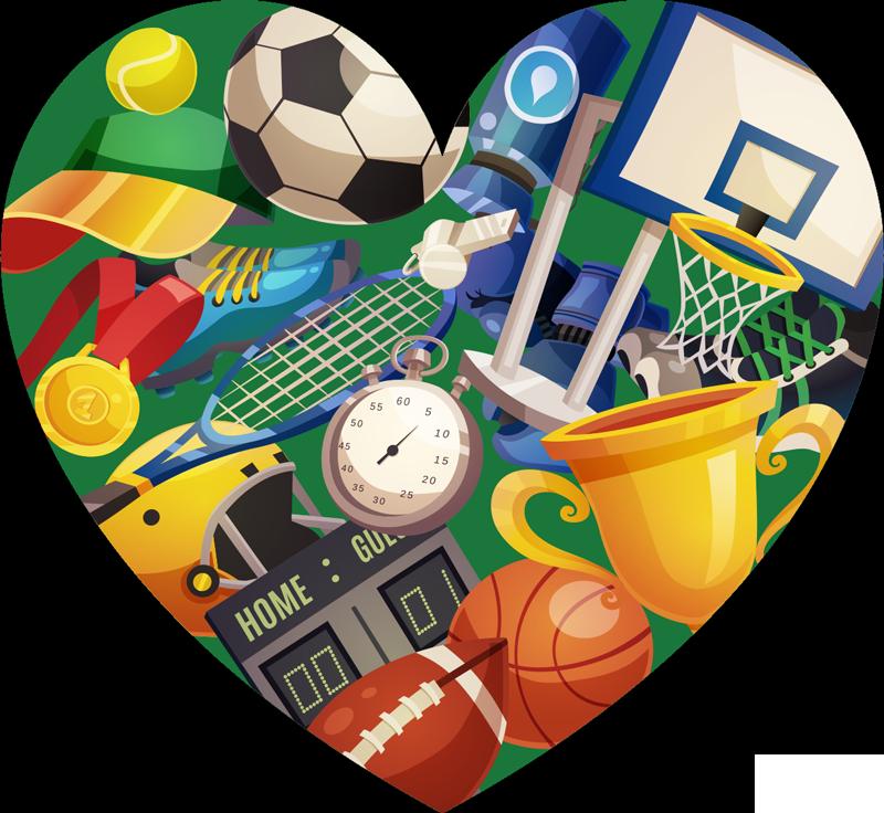 TenVinilo. Vinilo pared Silueta deporte corazón. Pegatina formada por la silueta de un corazón con el dibujo de elementos relacionados con el deporte en su interior. Descuentos para nuevos usuarios.