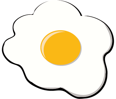 TenStickers. Fried Egg Kitchen Sticker. Kitchen Stickers - Original decoration idea for your kitchen with this fried egg sunny side up. Brighten up your morning routine with this food wall sticker showing a vibrant fried egg in white and yellow, perfect for creating a happy mood in your kitchen or cafe.
