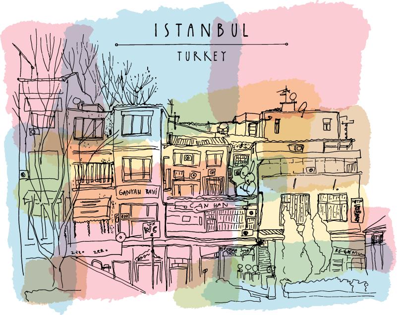 TenStickers. Eski istambul ev duvar sticker. Istambul, avrupa'nın en büyük şehri. Oturma odanda bir parça var, neredeyse baharatları koklayabileceksiniz!