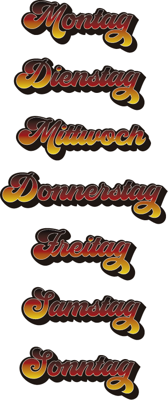 TenStickers. German days of the week educational wall stickers. Make learning German easy like a sonntag morgen with these German days of the week decals. Choose from a wide range of sizes!