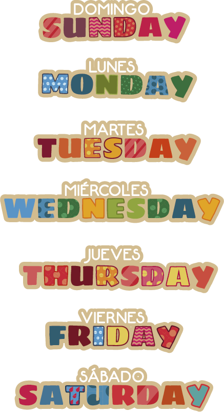 TenStickers. Week days in English educational sticker. Multicolored days of the week in English and Spanish educational wall sticker for kids .Buy it in the best size suitable for where it will be applied.