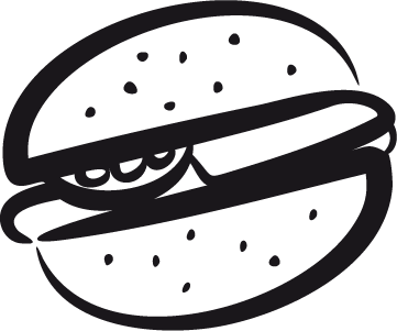 TenStickers. Hamburger Sandwich Decal. Wall Stickers - Decals - Stroke illustration of a burger with tomatoes and cheese. Ideal for homes or businesses