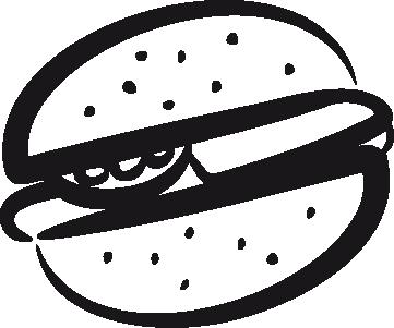 TenStickers. Hamburger sticker. Gek op hamburgers? Dan is deze sticker voor jou! Op deze muursticker zie je een tekening van een hamburger!