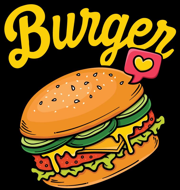 TENSTICKERS. カラーハンバーグサンドイッチデカール. ウォールステッカー-デカール-レタス、トマト、チーズのハンバーガーのカラフルなイラスト。