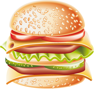 TenStickers. Cheese Burger Wall Sticker. Food stickers - This cheeseburger wall sticker is perfect for the kitchen, a restaurant or fast food place. Attract customers with this delicious looking burger sticker.