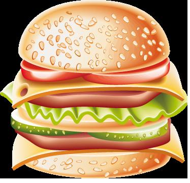 TenVinilo. Vinilo decorativo hamburguesa completa. Adhesivo para decorar tu cocina de una gran hamburguesa doble y jugosa de tres pisos con lechuga, pepino, tomate y queso.