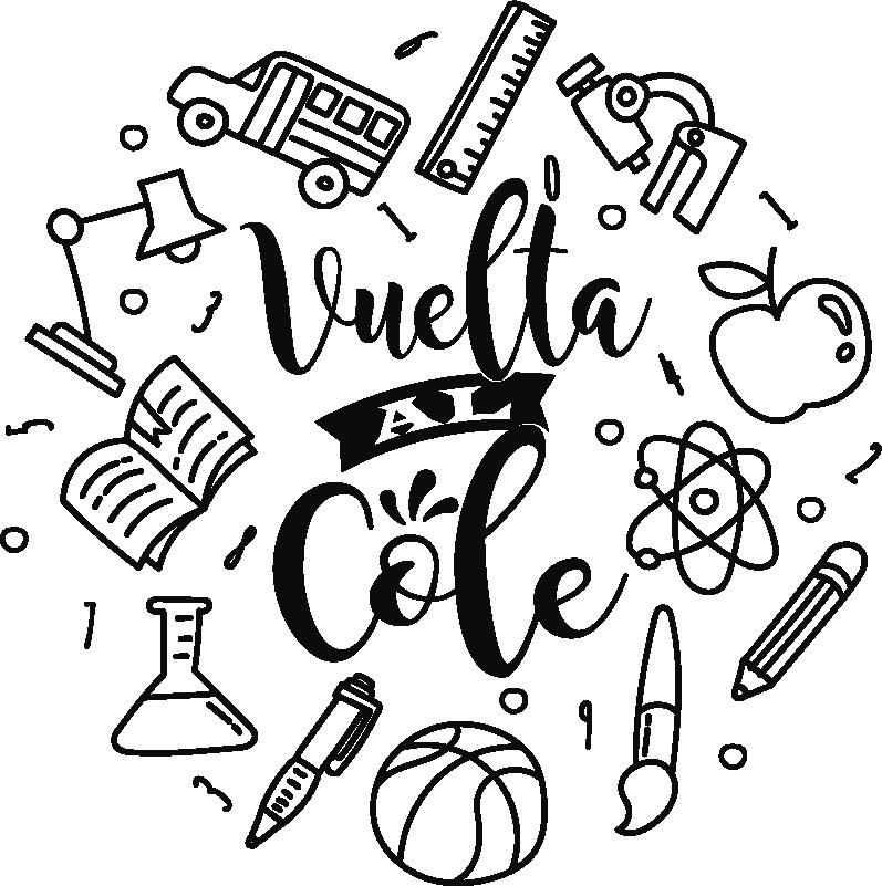 """TenVinilo. Vinilo empresa vuelta al cole material escolar. Vinilo silueteado para tienda formado por varios elementos relacionados con el material escolar y el texto """"Vuelta al cole"""". Precios imbatibles."""