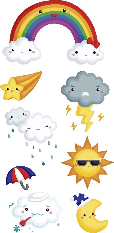 TenStickers. Autocolante infantil de ilustrações do tempo. Autocolante decorativo ilustrativo para crianças com ilustrações animadas dos vários estados do clima para ensinar as crianças sobre os elementos da atmosfera.