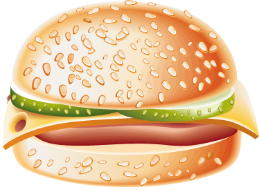 TenStickers. Delicious Hamburger Decal. Wall Stickers - Decals - Colourful vector illustration of a hamburger with lettuce, tomatoes and cheese.
