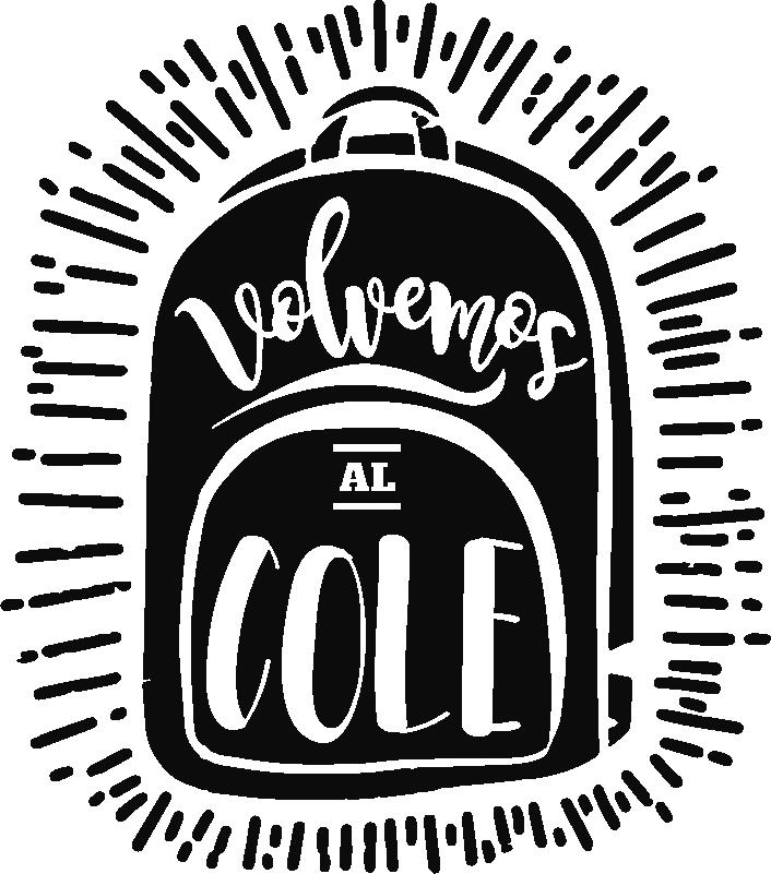 """TenVinilo. Vinilo empresa volvemos al colegio. Pegatina para colocar en el interior o exterior de un escaparate formada por una mochila y el texto """"Vuelta al cole"""". +50 Colores Disponibles."""