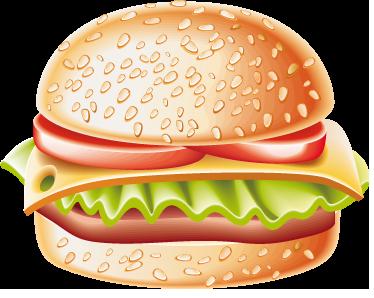 TENSTICKERS. ゴールデンハンバーグサンドイッチデカール. ウォールステッカー-デカール-新鮮なレタス、トマト、チーズのハンバーガーのカラフルなベクトルイラスト。