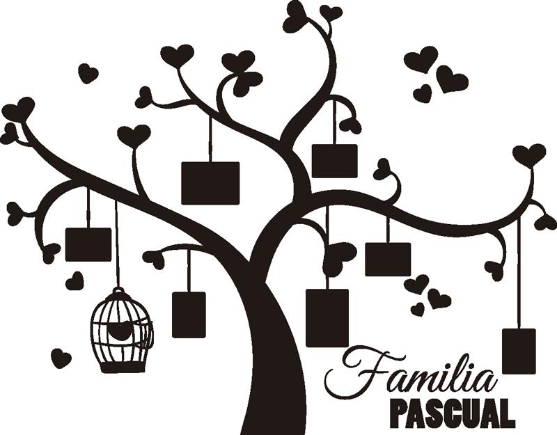 TenVinilo. Vinilo para salón árbol familiar personalizable. Mural para la pared de tu salón formado por el diseño de un árbol de la vida personalizado, en el que puedes colgar fotos de tus familiares.