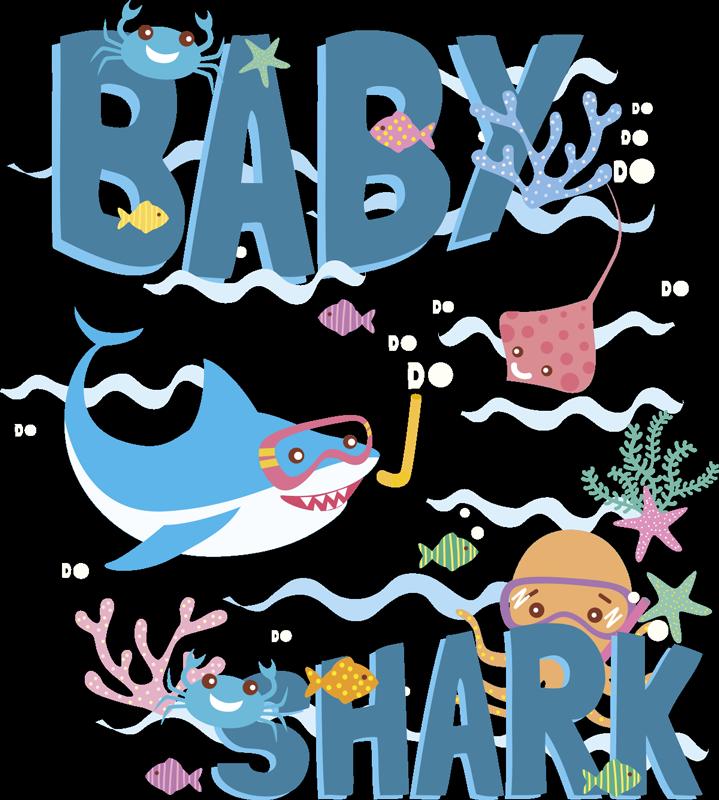 """TenVinilo. Vinilo decorativo personalizable Baby Shark personalizable. Vinilo formado por la canción infantil """"Baby Shark"""" acompañado de diferentes elementos y animales marinos. Atención al Cliente Personalizada"""