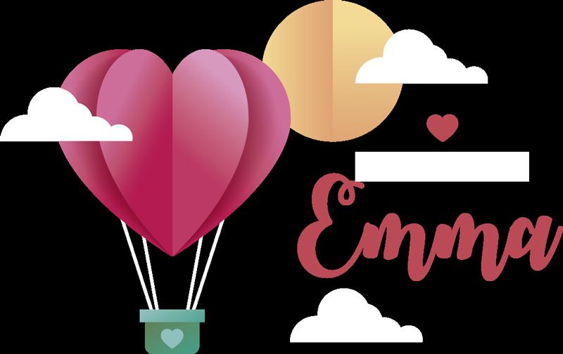 TenStickers. Spersonalizowana naklejka Balon w kształcie serca. Naklejka na zamówienie z imieniem dziecka do pokoju dziecięcego lecący balon w kształcie serca to idealny pomysł na prezent dla dziewczynki.