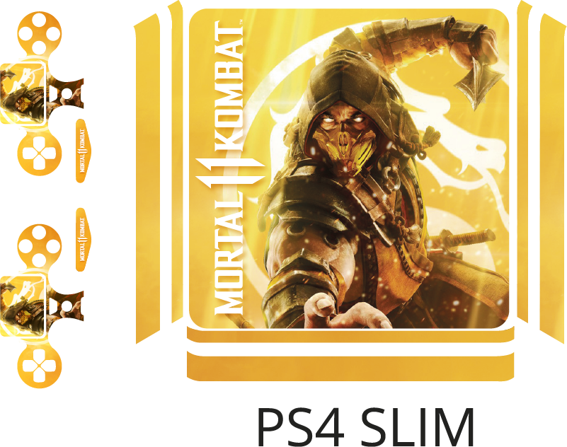 TenStickers. Mortal Kombat PS4 video game sticker. Give your console a new look with this Mortal Kombat PS4 sticker.  This PS4 skin is easy to apply, and extra resistant to creases, tears and wrinkles