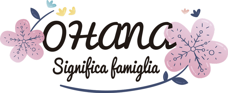 """TenStickers. Disegno per pareti Ohana famiglia. Applica questa scritta adesiva da parete che raffigura la frase """"Ohana significa famiglia"""", la quale viene dal famoso cartone animato """"Lilo e Stitch"""""""