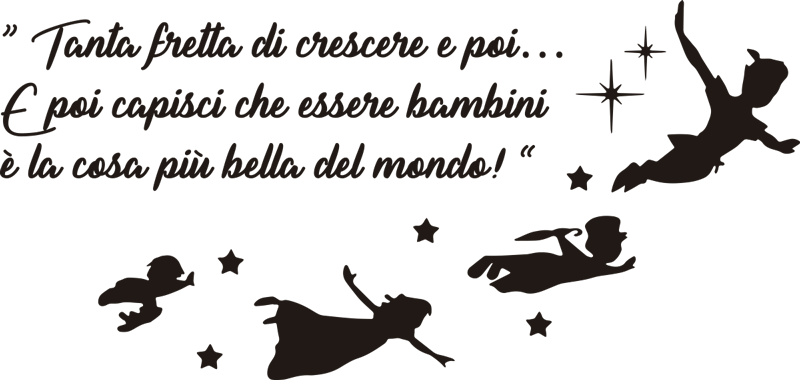 TenStickers. Adesivo murale frase di Peter Pan. Decora la stanza di tuo figlio con questo sticker cameretta, che presenta un testo da Peter Pan, su come è bello essere bambini!