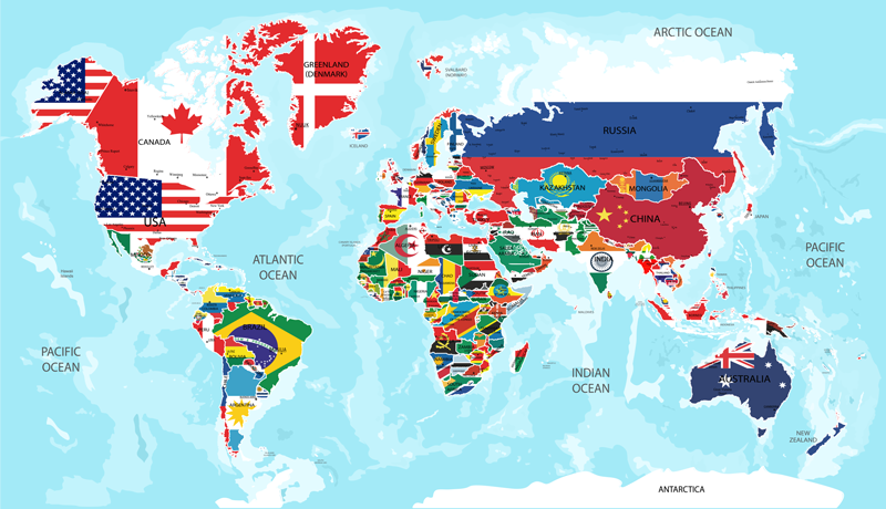 TenStickers. Flags of the world world map decal. Decorate the home with our best quality vinyl decal of world map with all it country in flag representation. Chose it in the size you want.