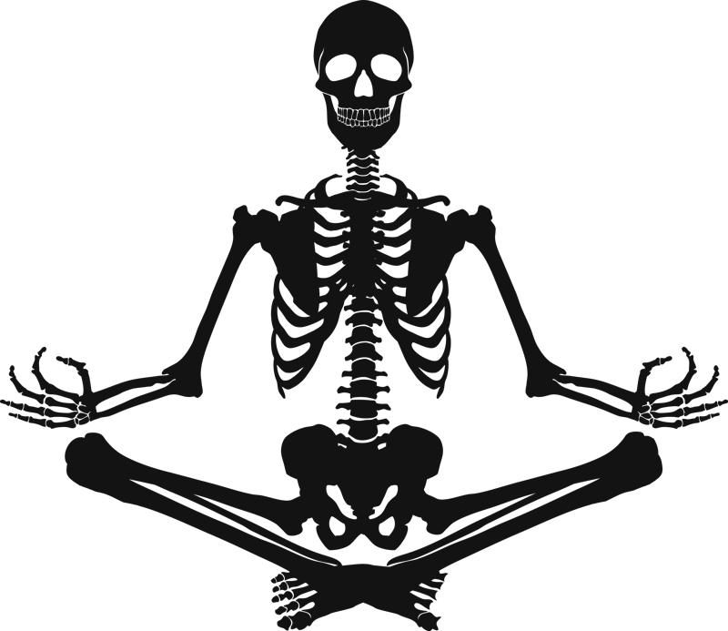 TenStickers. Skeleton meditating wall decal. A decorative wall decal silhouettes of a skeleton doing mediation. A science illustration sticker for home, yoga centers and laboratory.