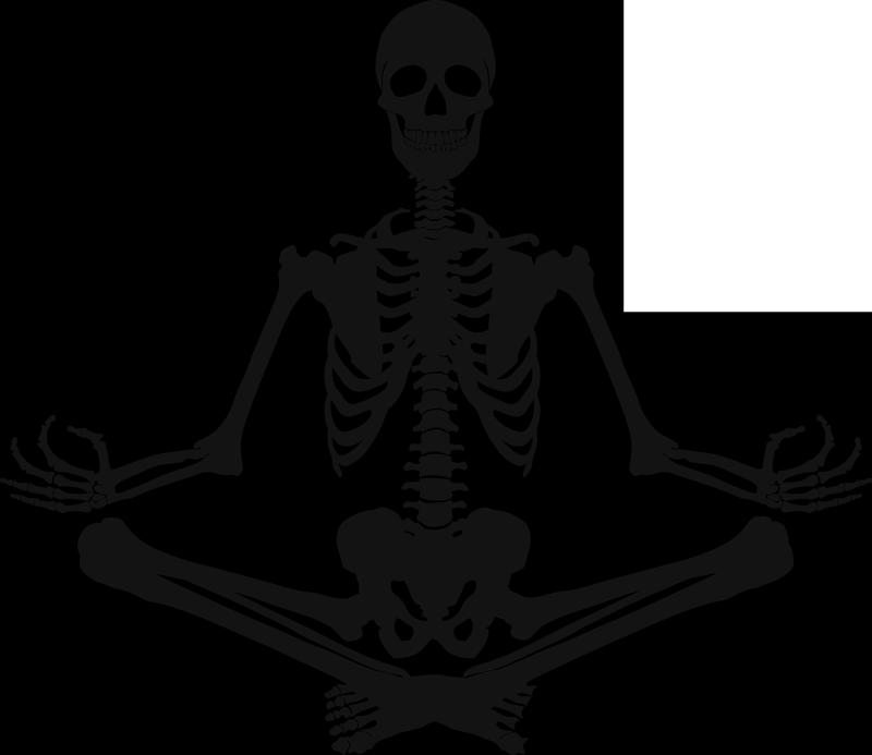 TenVinilo. Vinilo pared esqueleto meditando. Pegatina adhesiva formada por la silueta de un esqueleto meditando, ideal para una sala de yoga o un hospital. Fácil aplicación y sin burbujas.