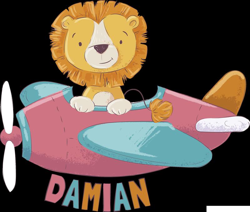 TenStickers. Sticker Chambre Enfant lionceaux dans son avion. Partez à l'aventure avec ce petit lionceaux dan son avion aux couleurs pastels, idéal pour une chambre d'enfant et personnalisable avec prénom.