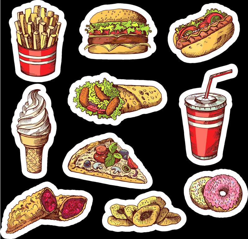 TenVinilo. Vinilo pared comida rápida. Fantástico pack formado por 10 pegatinas adhesivas con diferentes dibujos de comida rápida como una pizza o un helado. Precios imbatibles.