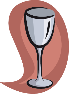 TenStickers. Wine Glass Illustration Wall Sticker. Wall Stickers - Illustration of a wine glass against a peach background. Ideal for cafés and restaurants.