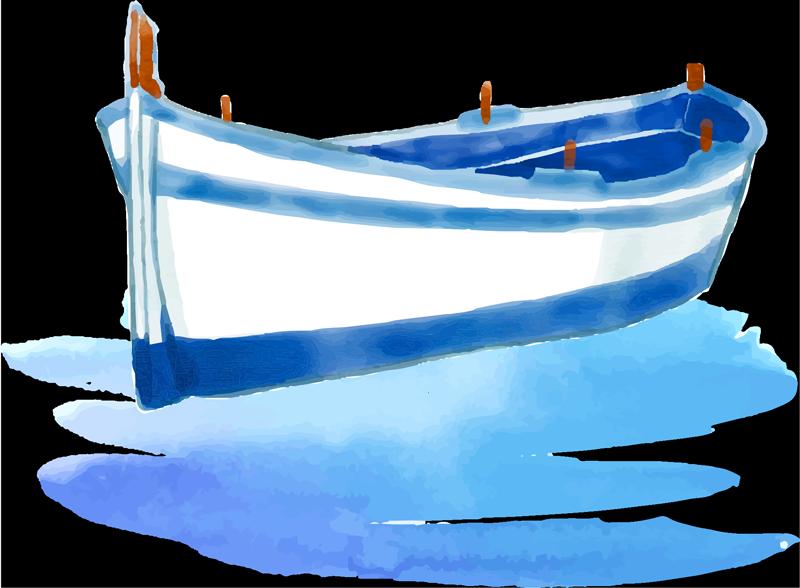 TenStickers. Sticker Mural Barque couleurs pastels. Cet adhésif mural représenant une barque de couleur bleu pastel est la décoration qu'il vous faut pour votre salon ou salle à manger.