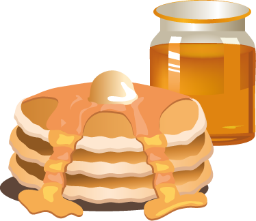 TenStickers. Golden Syrup Pancakes & Jar Decal. Wall Stickers - Decals - Vector illustration of a pile of mouth watering golden pancakes topped with maple syrup and butter.