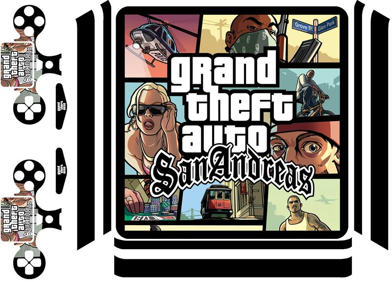 TenVinilo. Vinilo PS4 GTA San Andreas. Lámina adhesiva para decorar tu PS4 y controladores formada por la caratula del juego Grand Theft Auto: San Andreas. +50 Colores Disponibles.
