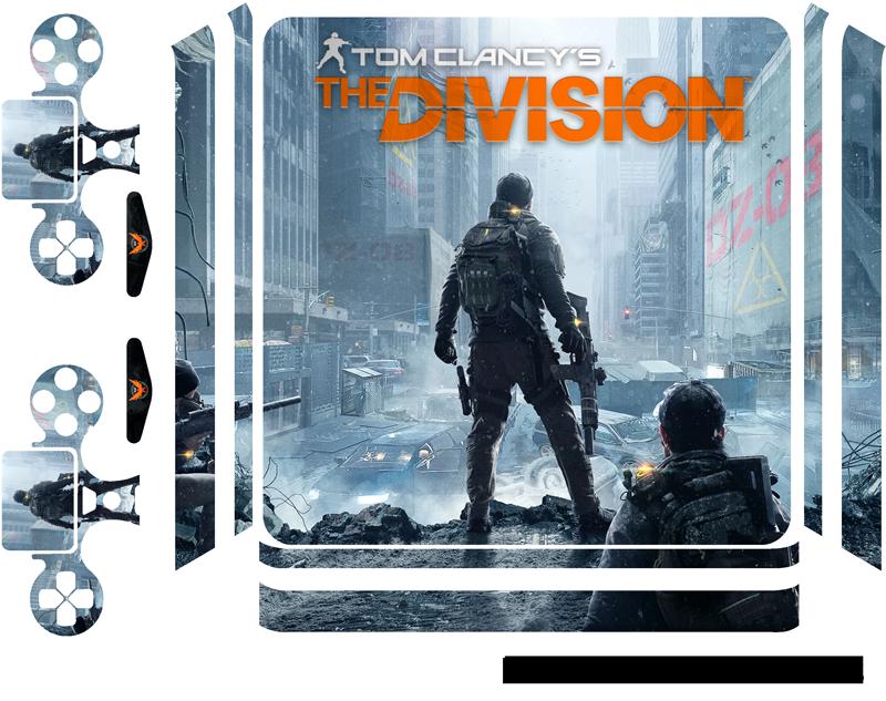 """TenVinilo. Vinilo PS4 The Division. Pegatina para decorar tu PS4 y controladores con el diseño de la caratula del videojuego """"Tom Clancy's The Division"""". Vinilos Personalizados a medida."""