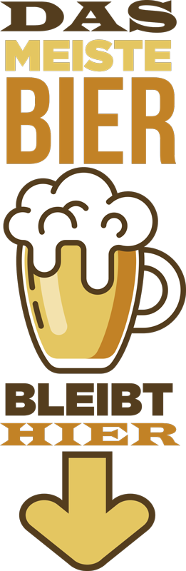 TenStickers. Wandtattoo Badezimmer Badsticker Bier bleibt hier. Dekorieren sie die unkreativen Teile Ihres Hauses! Bad Aufkleber zum schmunzeln der durch buntes Design und lustigem Spruch überzeugt