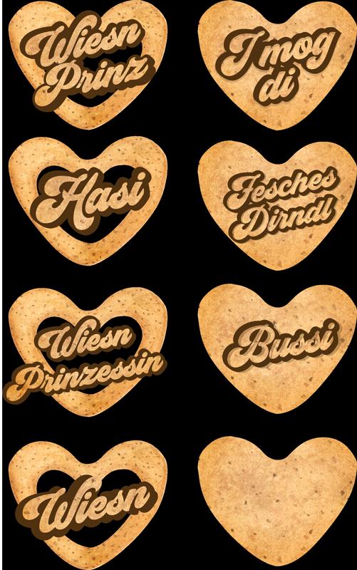 TenStickers. Wandtattoo Oktoberfest Herzen. Wandtattoo Oktoberfest mit herzlichen, bayerischen Wörtern in Herzen die an Lebkuchenherzen erinnern. Passend für jeden Raum oder Party!