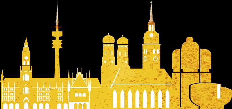 TenStickers. Wandtattoo Skyline Skyline München mit Biercharakter. Wandaufkleber der Skyline München, mit den  berühmtesten Sehenswürdigkeiten in der Farbe des Bieres und der Gerste. Perfekt für Ihr Wohnzimmer